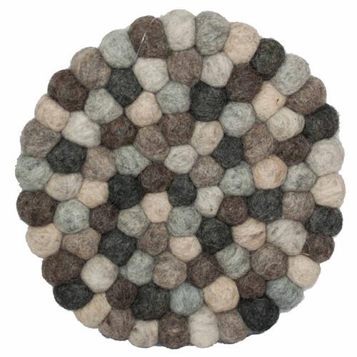 Wool Trivet Felt Balls Round in Natural