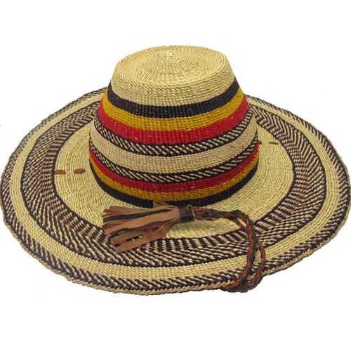 "African Straw Hat with Chin Strap #11-Fits 22""-23"" Head"