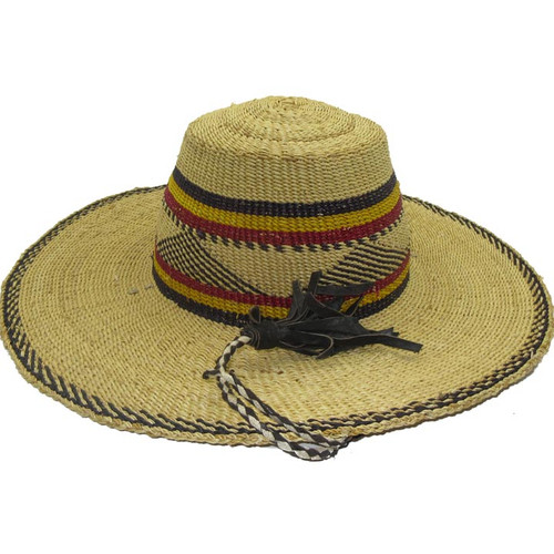 "African Straw Hat with Chin Strap #12-Fits 20""-21"" Head"