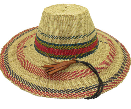 "African Straw Hat with Chin Strap #13-Fits 22""-23"" Head"