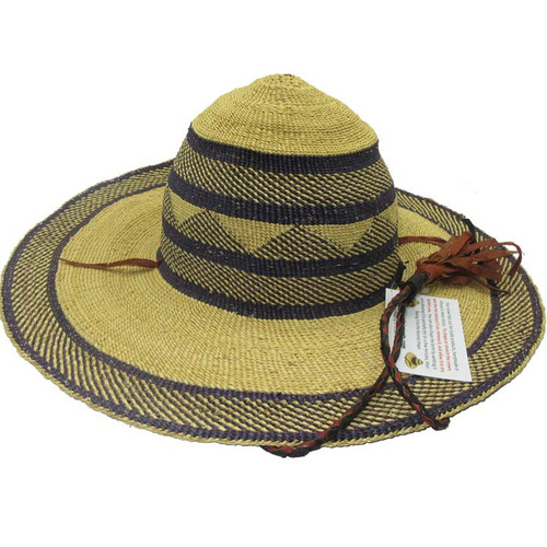 "African Straw Hat with Chin Strap #14-Fits 21""-22"" Head"