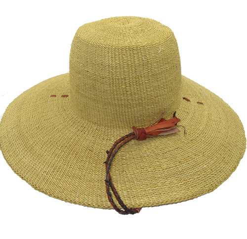 """African Straw Hat with Chin Strap #15-Fits 21 1/2""""-22 1/2"""" Head"""