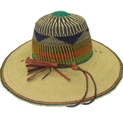 "African Straw Hat with Chin Strap #16-Fits  20""-21"" Head"