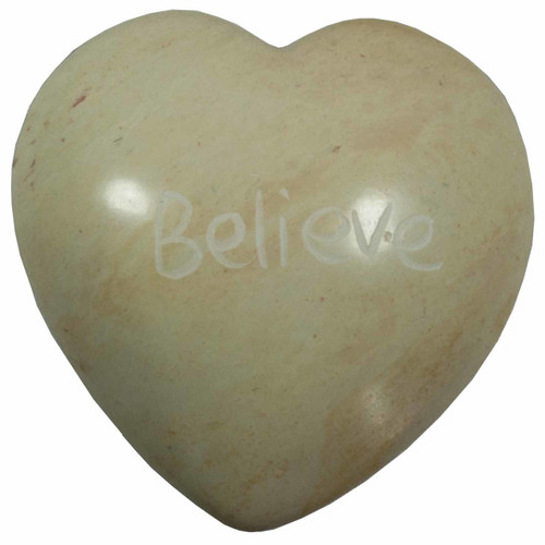 Soapstone Heart Natural - Believe