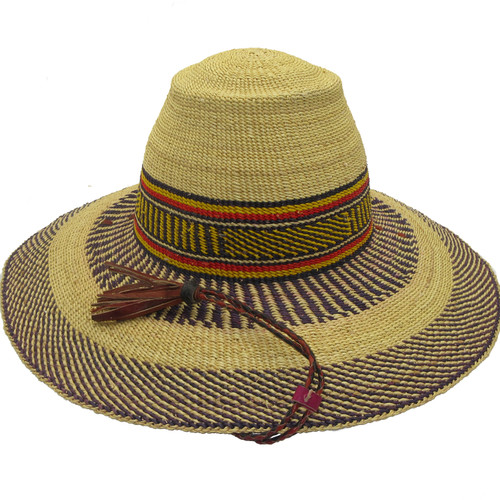"""African Straw Hat with Chin Strap #22-Fits 21""""-22"""" Head"""