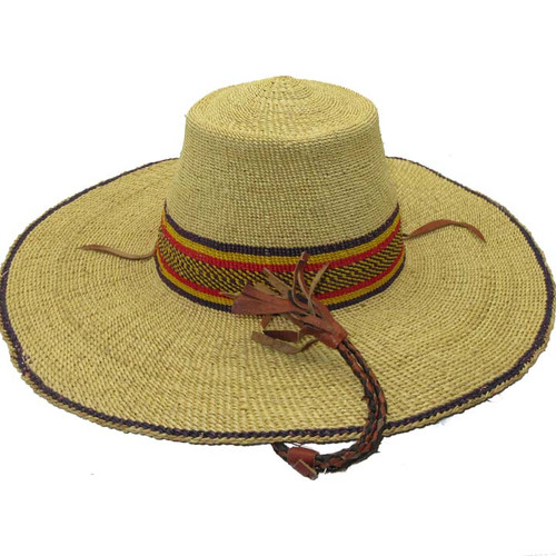"African Straw Hat with Chin Strap #25-Fits 21""-22"" Head"