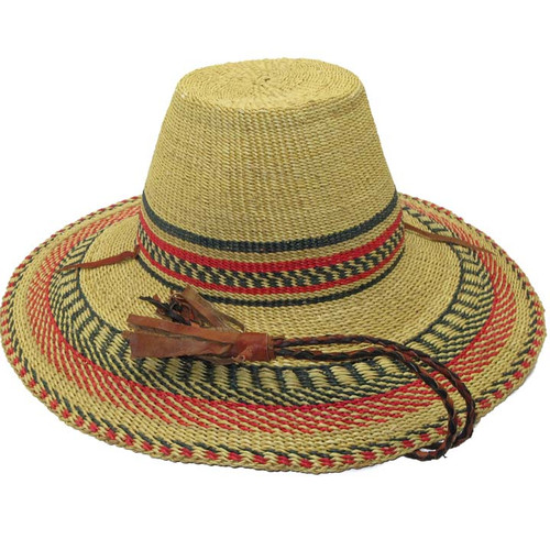 "African Straw Hat with Chin Strap #28-Fits 21""-22"" Head"