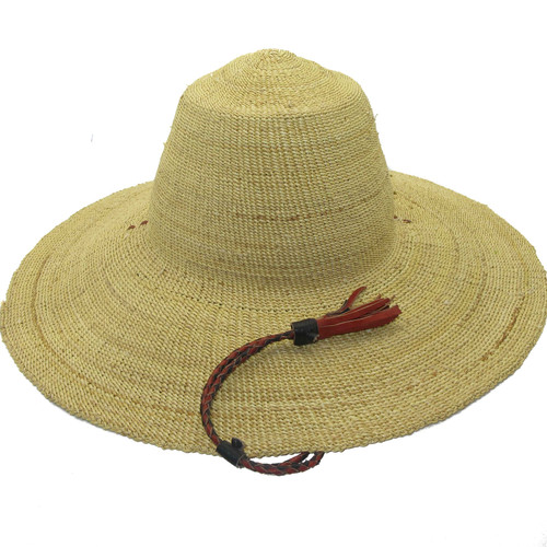 """African Straw Hat with Chin Strap #30-Fits 21""""-22"""" Head"""