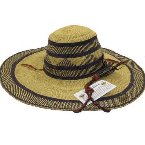 "African Straw Hat with Chin Strap #32-Fits 21""-22"" Head"