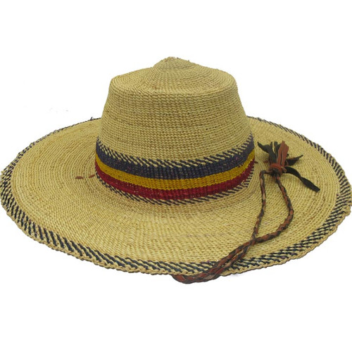 "African Straw Hat with Chin Strap #36-Fits 20""-21"" Head"