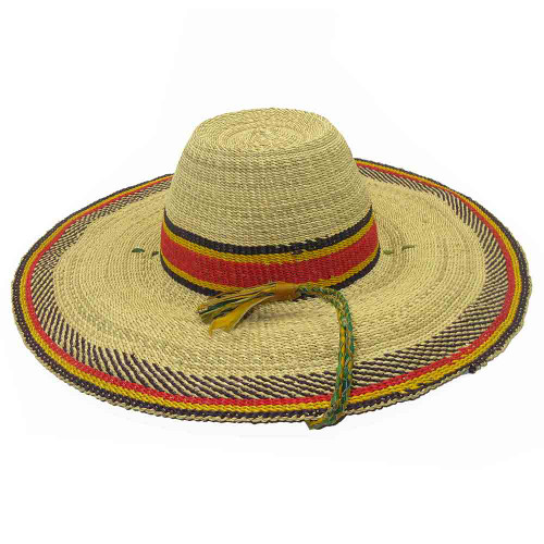 "African Straw Hat with Chin Strap #38-Fits 22""-23"" Head"