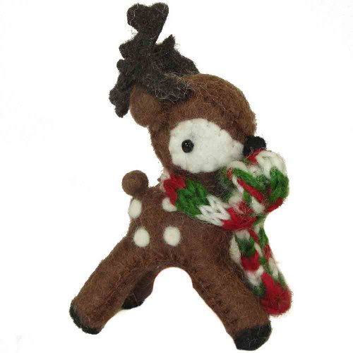 Felted Reindeer Ornament Brown