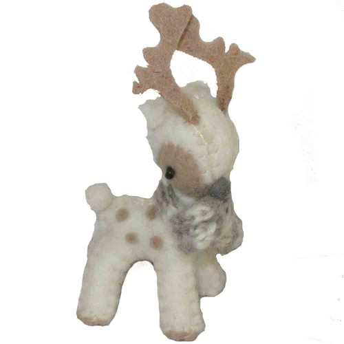Felted Reindeer Ornament White