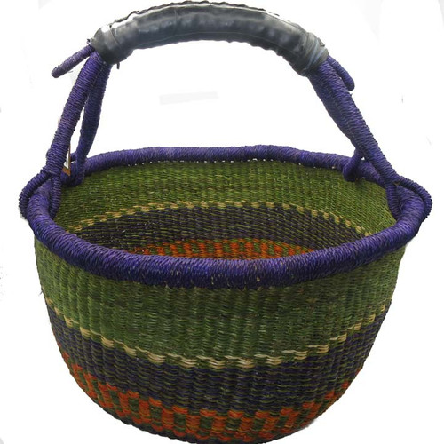 African Bolga Market Basket Large With Rubber Handle #4