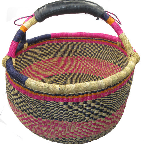African Bolga Market Basket Large With Rubber Handle #7