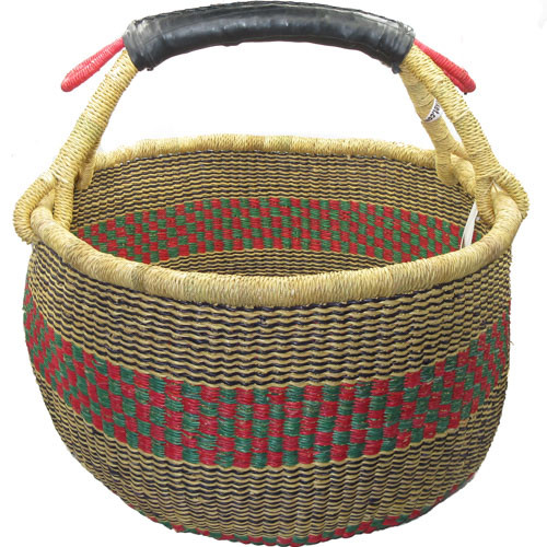 African Bolga Market Basket Large With Rubber Handle #8