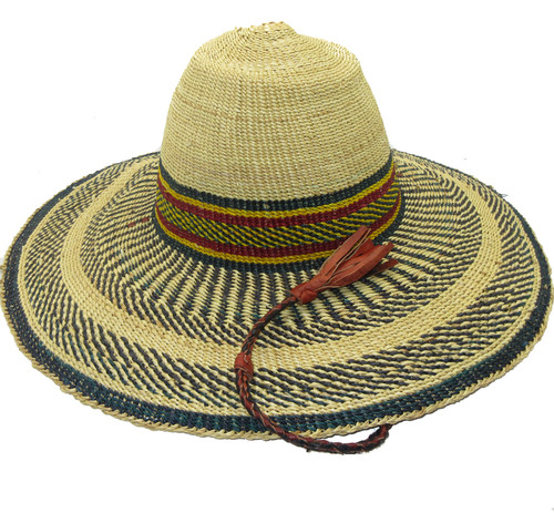 """African Straw Hat with Chin Strap #41-Fits 22""""-23"""" Head"""
