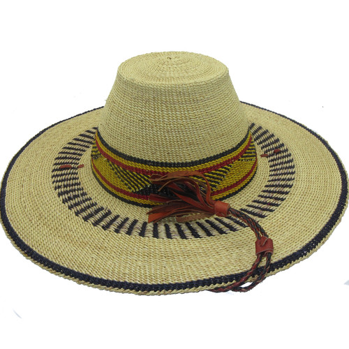 """African Straw Hat with Chin Strap #42-Fits 21""""-22"""" Head"""