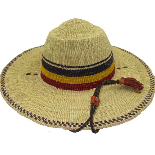 "African Straw Hat with Chin Strap #43-Fits 22""-23"" Head"