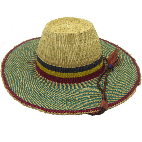 "African Straw Hat with Chin Strap #48-Fits 22""-23"" Head"