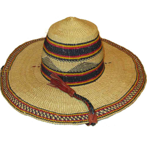 """African Straw Hat with Chin Strap #49-Fits 21""""-22"""" Head"""