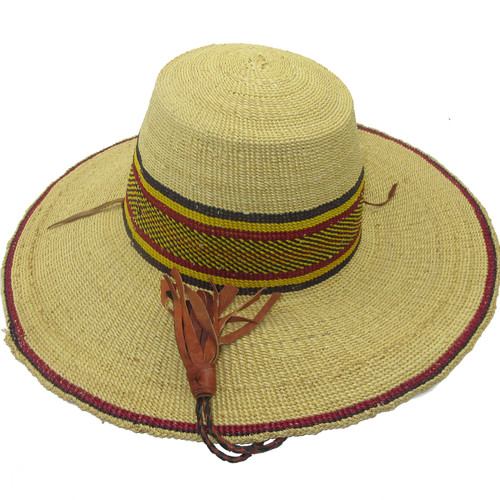 """African Straw Hat with Chin Strap #50-Fits 21 1/2-22 1/2"""" Head"""