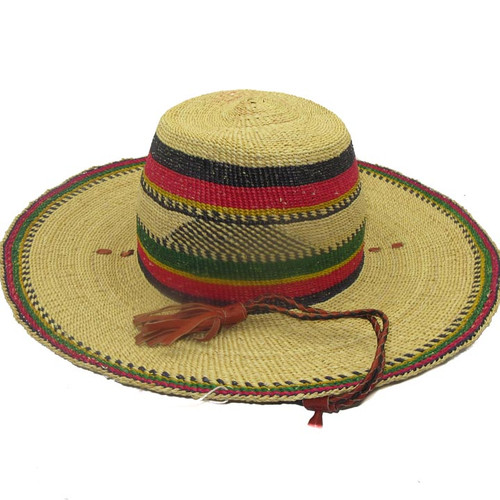 "African Straw Hat with Chin Strap #51-Fits 20 1/2""-21 1/2"" Head"
