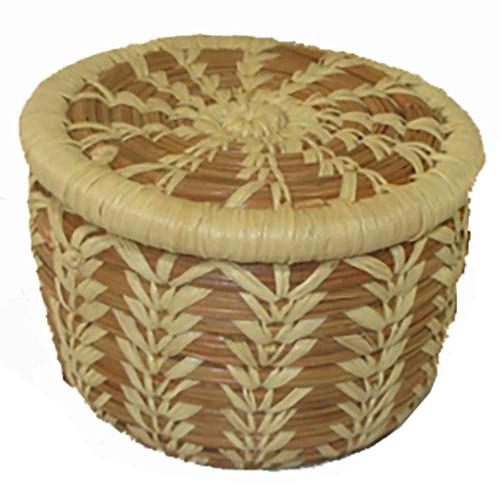 Pine Needle Tiny Lidded Basket