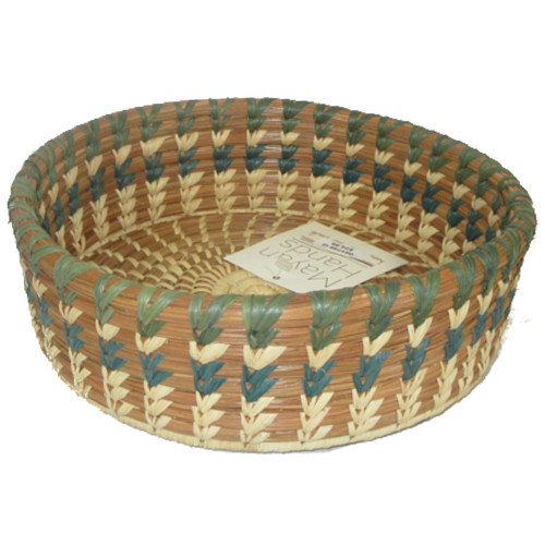 Pine Needle Basket Straight Sides Small Green