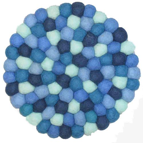 Wool Trivet Felt Balls Round Blue