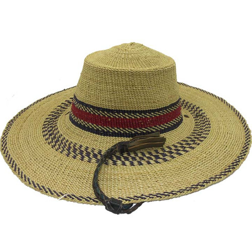 "African Straw Hat with Chin Strap #55 -Fits 20""-21"" Head"