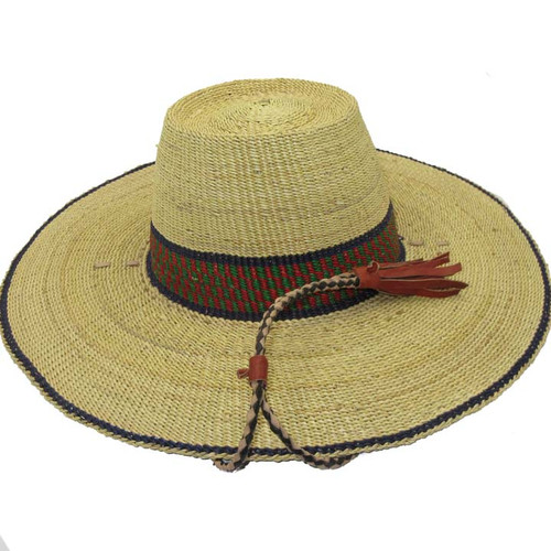 "African Straw Hat with Chin Strap #56-Fits 20 1/2""-21 1/2"" Head"