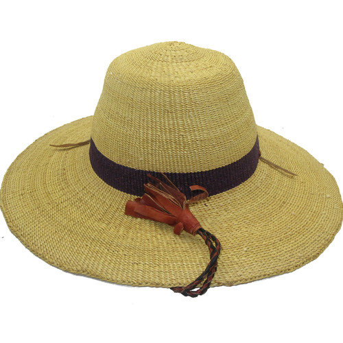 """African Straw Hat with Chin Strap #57-Fits 22 1/2""""-23 1/2"""" Head"""