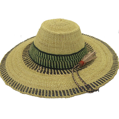 "African Straw Hat with Chin Strap #59-Fits 22 1/2""-23 1/2"" Hea"