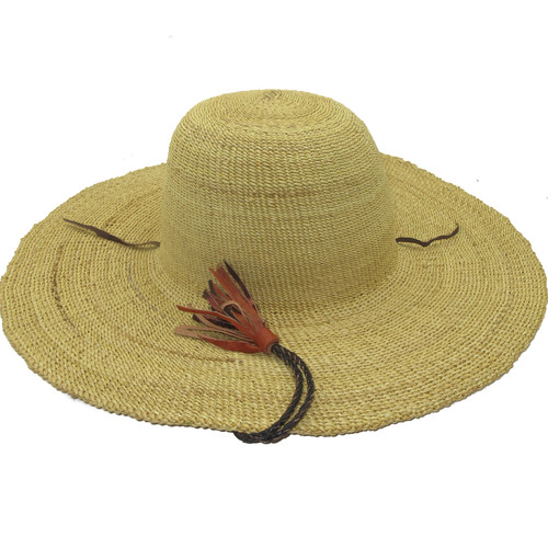 """African Straw Hat with Chin Strap #60-Fits 22 1/2""""-23 1/2"""" Head"""