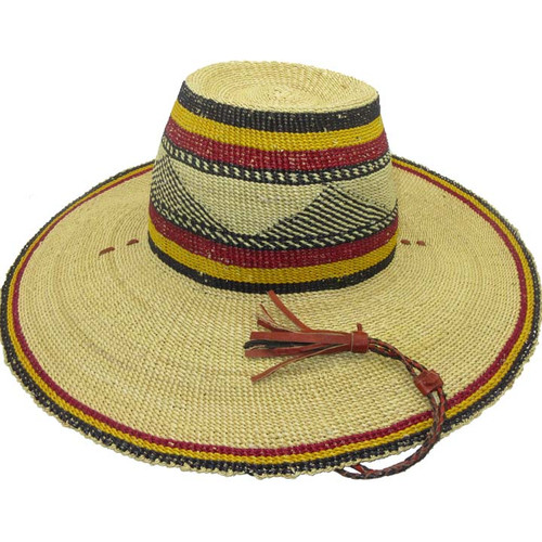 """African Straw Hat with Chin Strap #61-Fits 22 1/2""""-23 1/2"""" Head"""