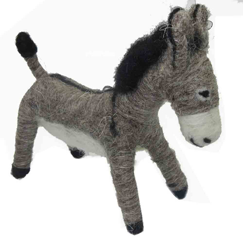 Felted Wool Ornament Donkey