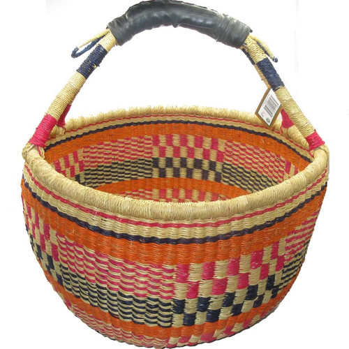 African Bolga Market Basket Large With Rubber Handle #9