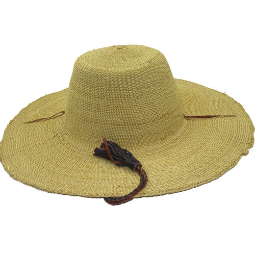 """African Straw Hat with Chin Strap #66-Fits 23""""-24"""" Head"""