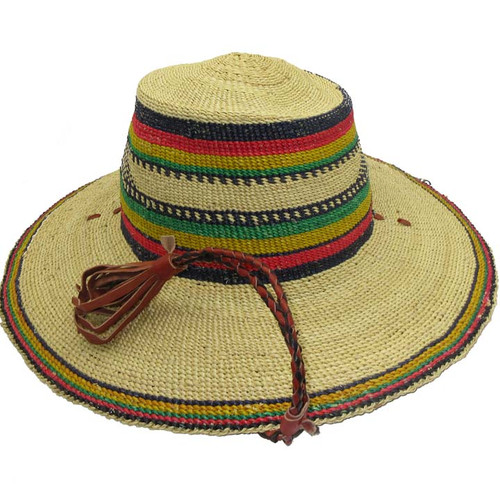 "African Straw Hat with Chin Strap #67-Fits 23""-24"" Head"
