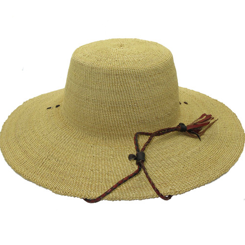 """African Straw Hat with Chin Strap #69-Fits 23""""-24"""" Head"""