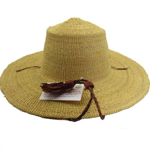 "African Straw Hat with Chin Strap #71-Fits 23""-24"" Head"