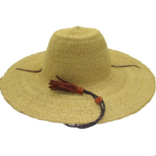 """African Straw Hat with Chin Strap #72-Fits 22""""-23"""" Head"""