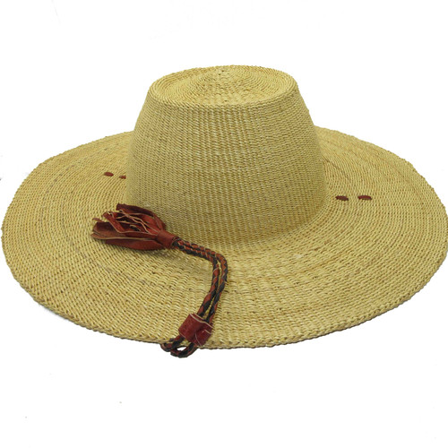 """African Straw Hat with Chin Strap #73-Fits 22""""-23"""" Head"""