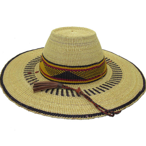 """African Straw Hat with Chin Strap #81-Fits 22""""-23"""" Head"""