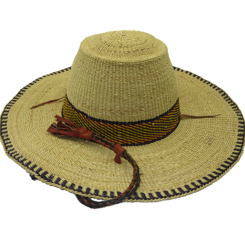 """African Straw Hat with Chin Strap #82-Fits 21""""-22"""" Head"""
