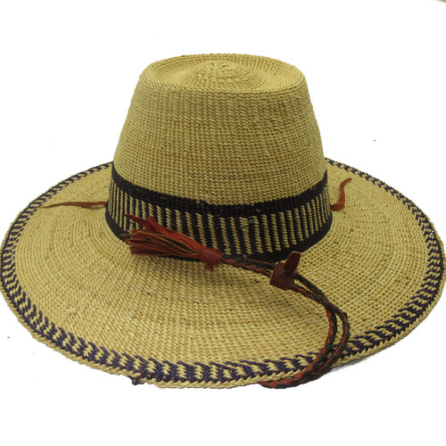 """African Straw Hat with Chin Strap #83-Fits 21""""-22"""" Head"""