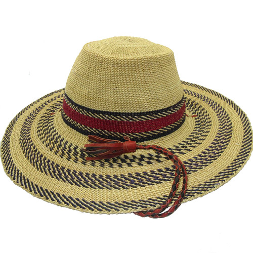 """African Straw Hat with Chin Strap #84-Fits 24""""- 25"""" Head"""