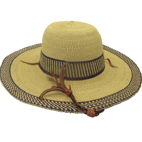 """African Straw Hat with Chin Strap #86-Fits 21 1/2""""-22 1/2"""" Head"""