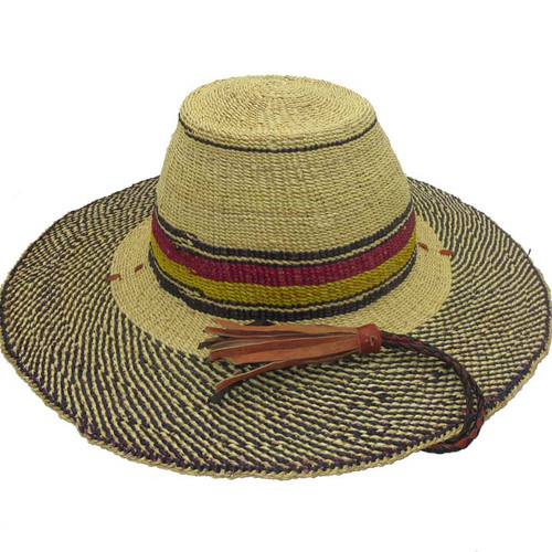 """African Straw Hat with Chin Strap #92-Fits 21 1/2""""-22 1/2"""" Head"""